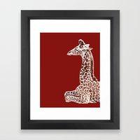 Giraffe in Red Framed Art Print