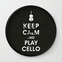 Keep Calm And Play Cello Wall Clock