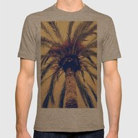 Tenerife Palm Tree Mens Fitted Tee Tri-Coffee SMALL