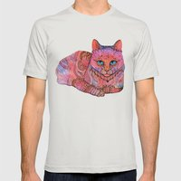 SUNSET CAT Mens Fitted Tee Silver SMALL