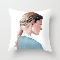 Blond Girl Throw Pillow