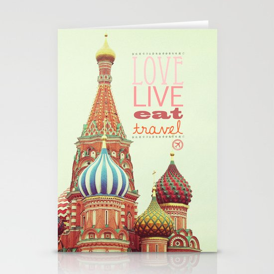Love, Live, Eat, Travel Stationery Card