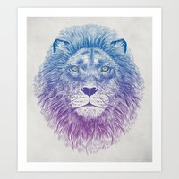 lion Art Prints featuring Face of a Lion by Rachel Caldwell