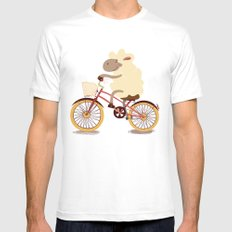 Lamb on the bike SMALL Mens Fitted Tee White
