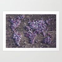 Lilac world map Art Print