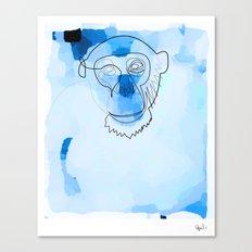 one line blue monkey Canvas Print
