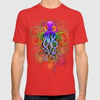 Octopus Psychedelic Lumi… Mens Fitted Tee Red SMALL