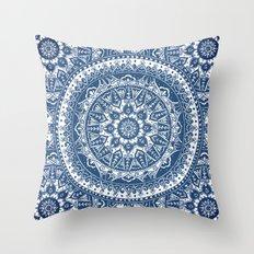 Blue Mandala Pattern Throw Pillow