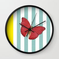 Coral Butterfly Wall Clock