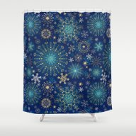 Blue Gold Snowflakes  Shower Curtain