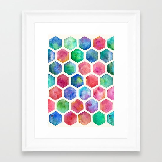 Hand Painted Watercolor Honeycomb Pattern Framed Art Print