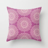 Vintage Mandala-Purply Throw Pillow