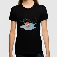 Little Fox On Ice Womens Fitted Tee Black SMALL