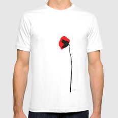 Simply poppy SMALL White Mens Fitted Tee