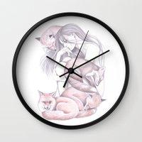Sleeping Foxes Wall Clock