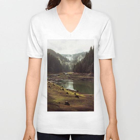 Foggy Forest Creek V-neck T-shirt