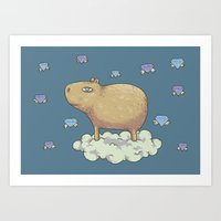 Capy in the Sky with Diamonds Art Print
