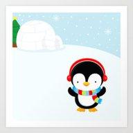 Cute Penguin Boy #2 Art Print