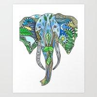 Tatoo Elephant Art Print