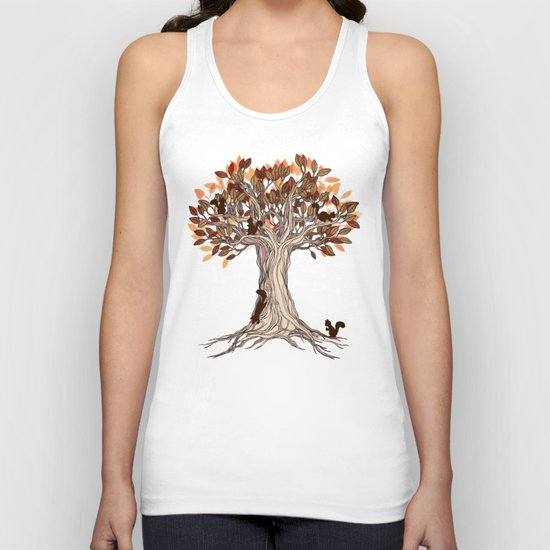 Little Visitors - Autumn tree illustration with squirrels Unisex Tank Top