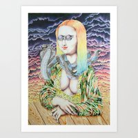 Mona Lisa and the Love Snake Live to Party Art Print