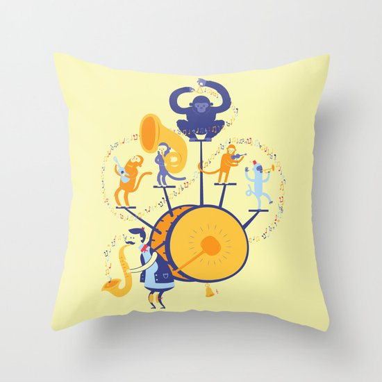 One man (five monkey) band Throw Pillow