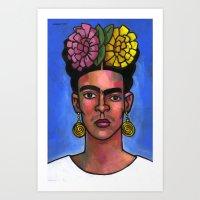 Frida on Blue Background Art Print