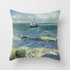 Seascape near Les Saintes-Maries-de-la-Mer by Vincent van Gogh Throw Pillow