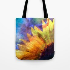 Sunflower on colorful watercolor texture Tote Bag