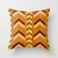 Wood Inlaid Chevrons Throw Pillow
