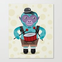 The Monkey Drummer Canvas Print