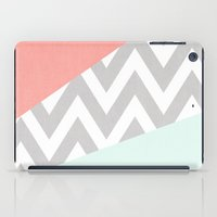 mint & coral chevron block TEXTURIZED iPad Case