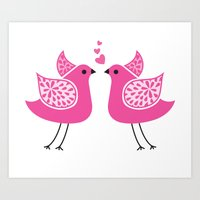 Bird Kiss Art Print
