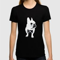 George The Cutest French… Womens Fitted Tee Black SMALL