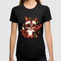 Playing with the leaves Womens Fitted Tee Tri-Black SMALL