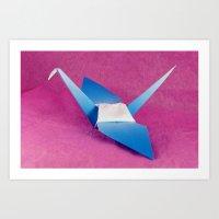 Blue Origami Crane Art Print