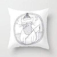 Cat fisherman Throw Pillow