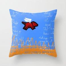 fly, little pig Throw Pillow