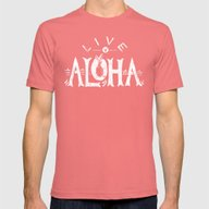 Live Aloha Mens Fitted Tee Pomegranate SMALL