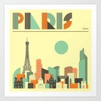 paris Art Prints featuring PARIS by Jazzberry Blue