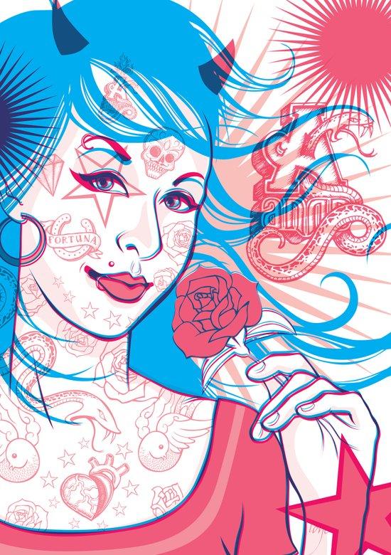 Pink & Blue Tattoo Art Print
