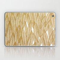Gold & White Leaves Laptop & iPad Skin