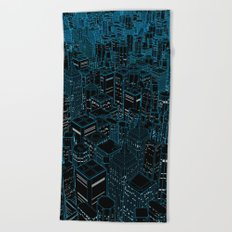 Night light city / Lineart city in blue Beach Towel