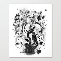 The Great Horse Race! B&W Edition Canvas Print
