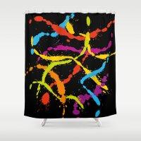 Splattered Rainbow [BLAC… Shower Curtain
