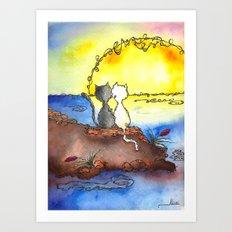 Cats at Sunset Art Print