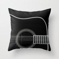 Guitar BW Throw Pillow