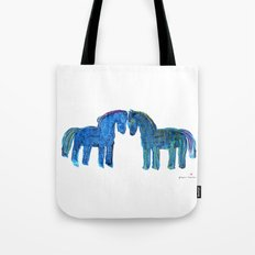 Blue Ponies Tote Bag