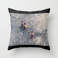 Monks in the city Throw Pillow
