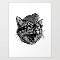 Funky Cat Art Print